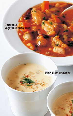 ... -style miso soups(Chicken & Vegetable miso soup,Miso clam chowder